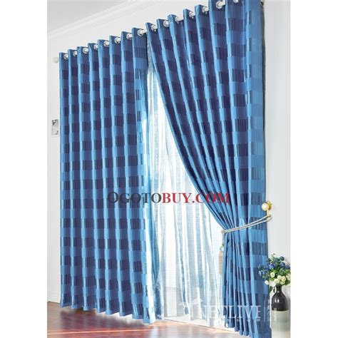 blue checked curtains blue check curtains curtain designs