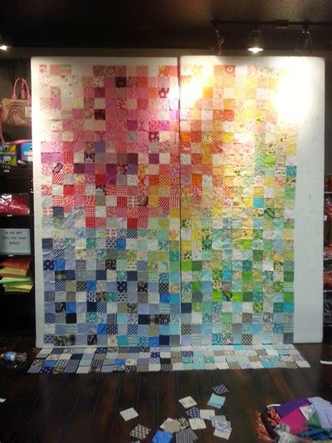 Rainbow Patchwork - simple simple rainbow patchwork quilt