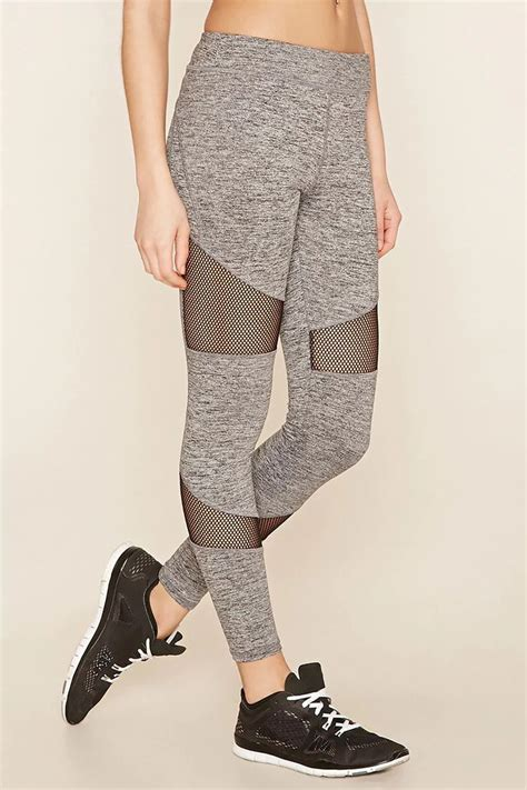 Legging Mesh Best Quality 13 a pair of marled knit with contrast mesh panels moisture management and a key