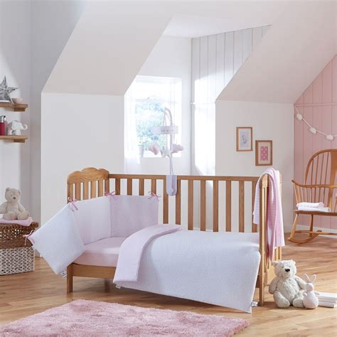 Cot Bed Bumper Set Clair De Lune Stripes Cot Cot Bed Quilt Bumper Set Pink Buy At Online4baby