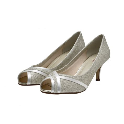 Peep Toe Shoes By Monsoon by Rainbow Club Margie Ivory Silver Shimmer Peep Toe Shoes
