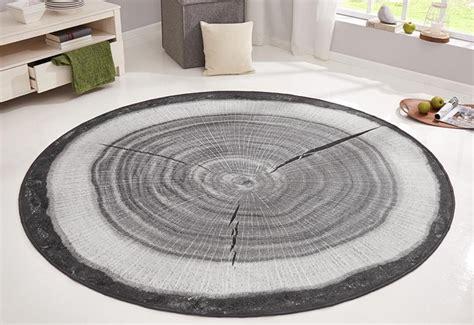 teppich rund design design velours teppich baumstamm rund grau teppiche design