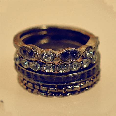 simple antique rhinestone black adjustable 5pcs band ring