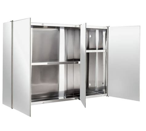 buy home 3 door mirrored bathroom cabinet stainless