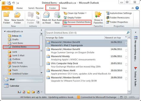 how to retrieve an item recover deleted mail items outlook 2010 and 2013