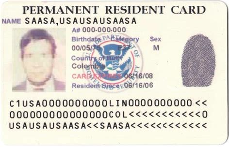 permanent resident card template permanent residence united states