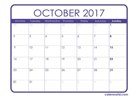 Calendar 2017 October Events Calendar For October 2017 2017 Printable Calendar