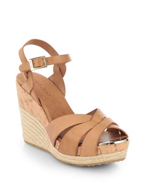 Sandal Wedges Bunga Af13 11 jimmy choo pallet leather espadrille wedge sandals in brown lyst