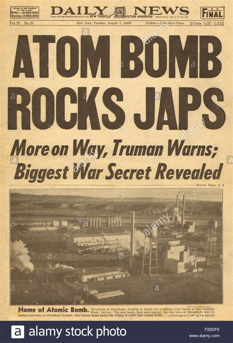 manhattan the army and the atomic bomb classic reprint books 1945 daily news new york front page reporting atomic