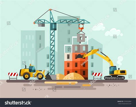 site clipart construction site building house vector flat stock vector