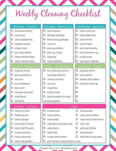 Galerry cleaning schedule planner printable