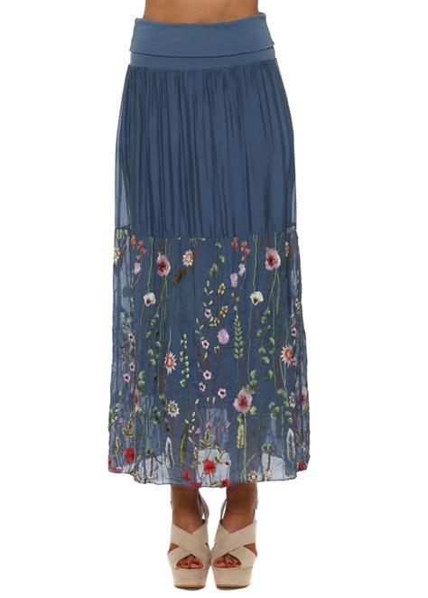 j l skirt blue floral silk maxi