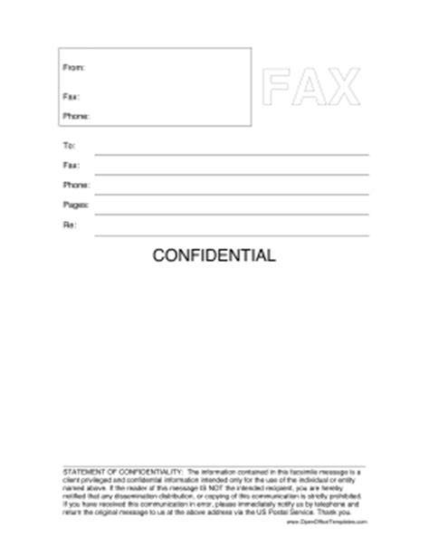 confidential cover letter confidential fax cover sheet openoffice template