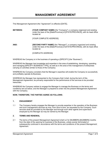 Management Agreement Template Sle Form Biztree Com Management Contract Template