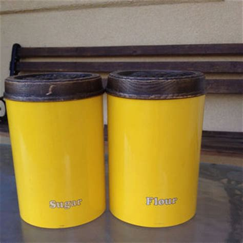 yellow canister sets kitchen best flour and sugar canisters products on wanelo
