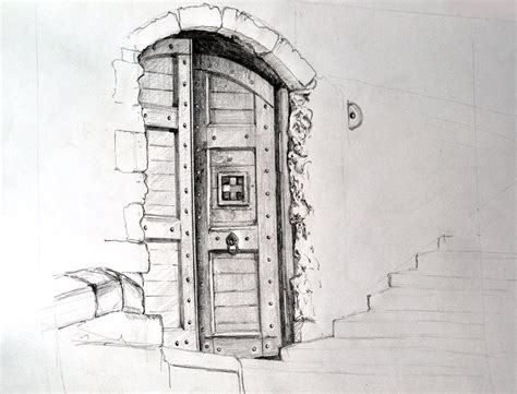 Drawing Of A Door by Mitch Avery With Real Pencils