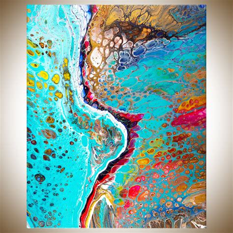 acrylic paint for large canvas blue river by qiqigallery 16 quot x 20 quot abstract painting