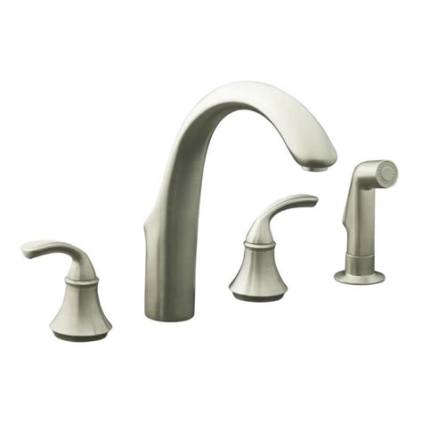 brushed nickel kitchen faucets shop kohler forte vibrant brushed nickel 2 handle high arc kitchen faucet at lowes