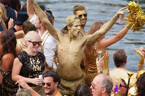 Canal Parade Of The Amsterdam Gay Pride 2014 Stock