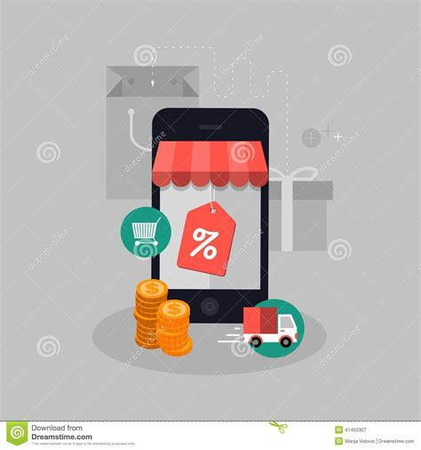 mobile shopping vector mobile shopping concept illustration stock vector