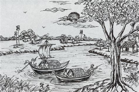 village boat drawing drawn wallpaper village pencil and in color drawn