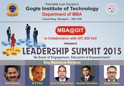 Gogte Institute Of Technology Mba by Mba Git To Conduct Leadership Summit 2015 All About Belgaum
