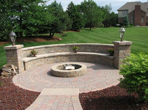 Exterior Very Popular Round Fire Pit With Paver Stone Patio Designs With Pits