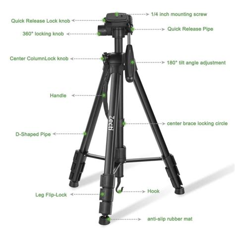 tripod parts diagram comparison between zecti 70 inch and 55 inch aluminium