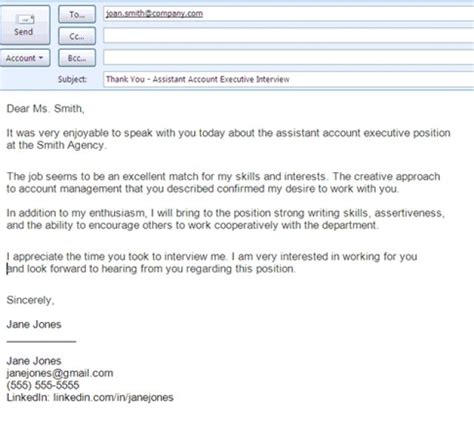save email thank you letter job interview format new phone interview