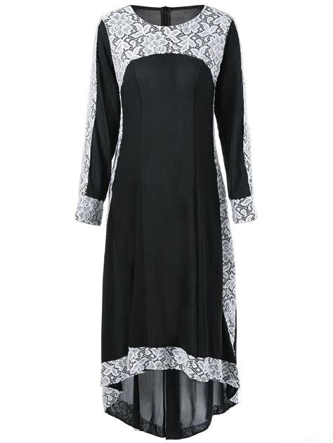 Vintage Lace Insert High Low Dress black 2xl maxi lace insert high low sleeve dress