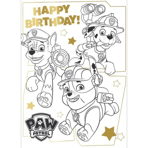 paw patrol birthday coloring pages paw patrol me colour in birthday card with poster pa034