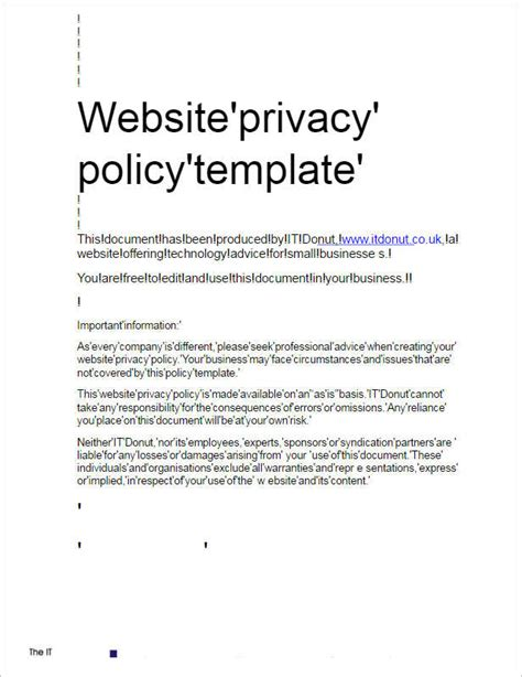 Privacy Policy Exle Template Business Privacy Policy Template For Small Business
