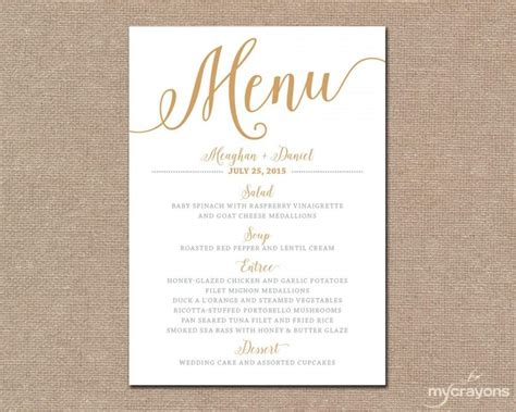 Free Printable Wedding Menu Card Templates by Gold Wedding Menu Card Printable Wedding Menu