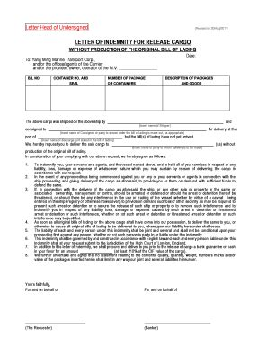 fillable letter of indemnity for release cargo yangming fax email print pdffiller