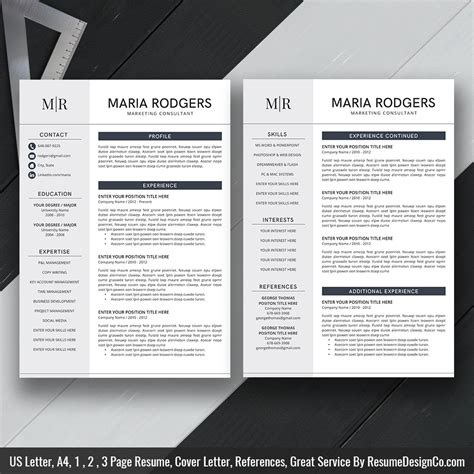 Two Page Resume Template by Instant The Resume Resumedesignco