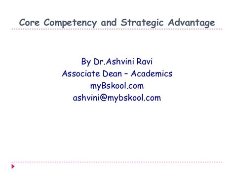 Mba Competencies by Competence And Strategic Advantage Mini Mba