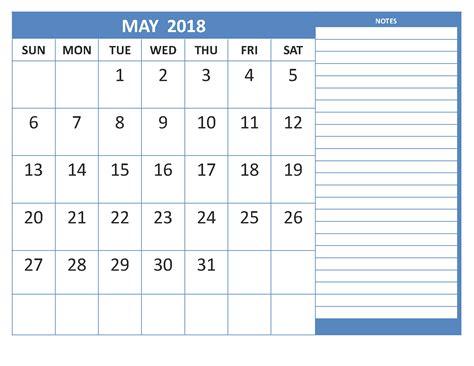 Calendar 2018 Notes Free May 2018 Calendar Printable Templates January 2018