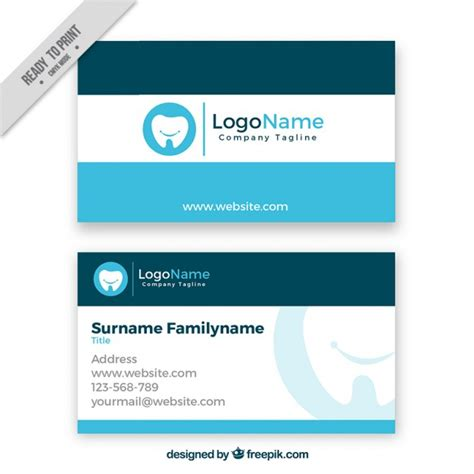 dentist business card template dental business card vector free