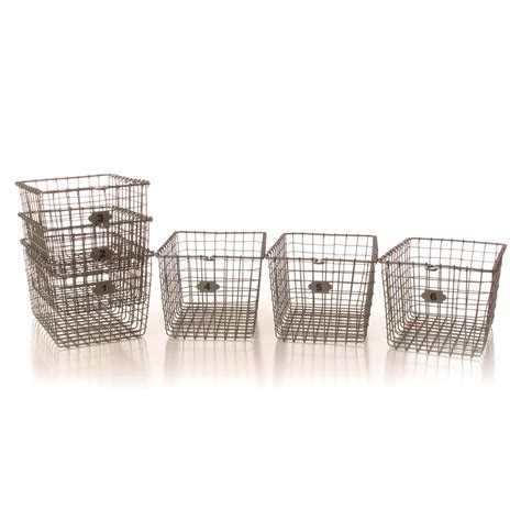 wire for sale industrial loft locker wire storage baskets set of 6