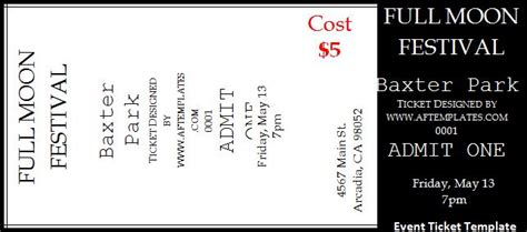 Ticket Templates Free Word S Templates Ticket Template