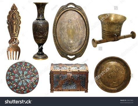 vintage items set bronze antique items vase trey stock photo 23837983