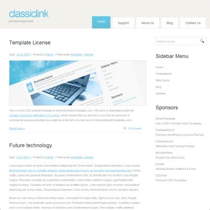 classic link template free website templates in css html