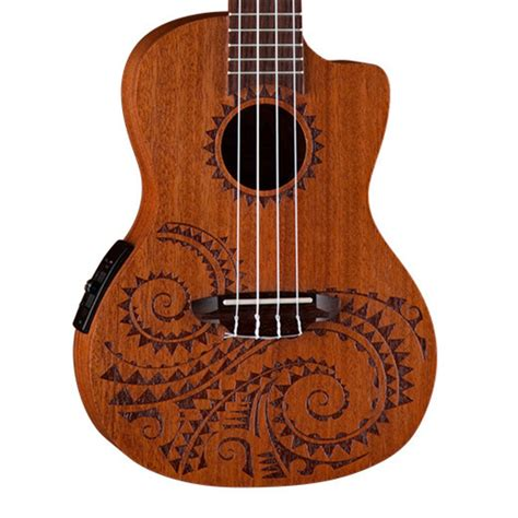luna tattoo electro acoustic concert ukulele mahogany at