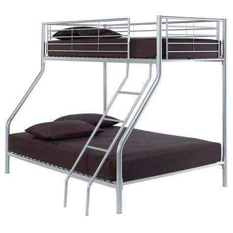 Metal Bunk Bed Frame Silver Metal Sleeper Bunk Bed Frame Single 3ft 4ft6 Ebay