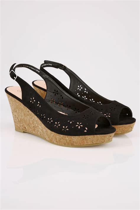 C772 Black Sling Bag black floral laser cut slingback wedge sandal in true eee fit
