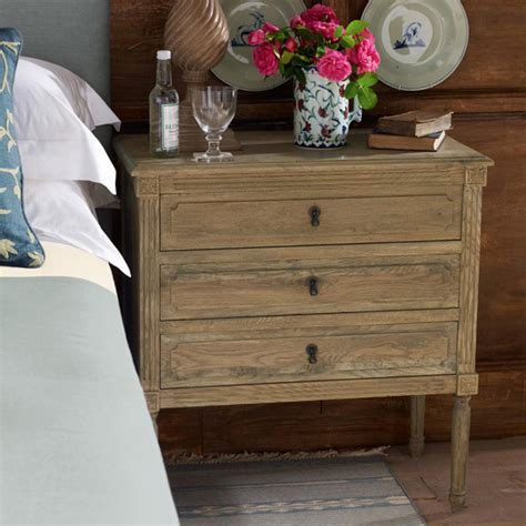 orleans wooden bedside chest of drawers oka