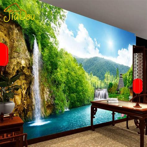 bedroom waterfalls aliexpress com buy custom 3d non woven mural wallpaper