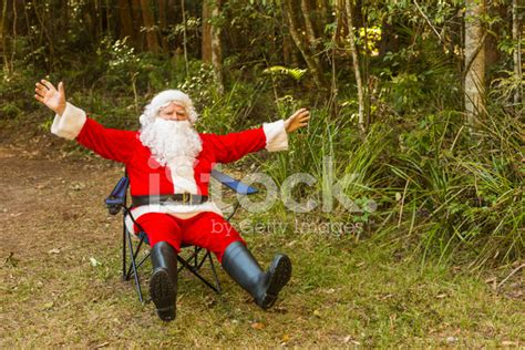 aussie santa claus excited santa claus in the australian bush stock photos