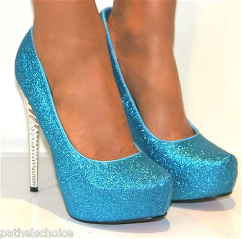 glittery turquoise high heels shoes