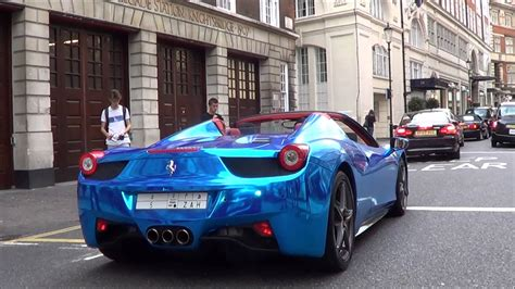 chrome ferrari 458 spider blue chrome ferrari 458 spider in london youtube